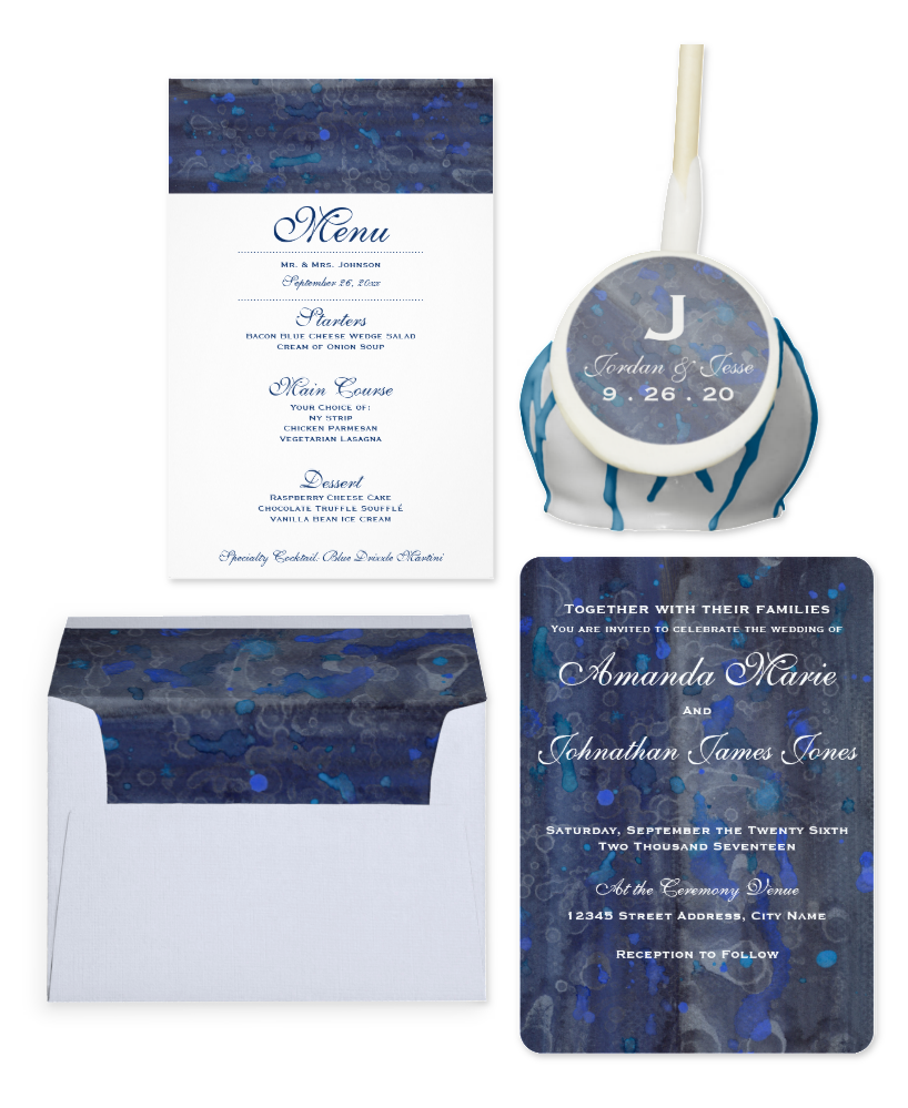 Blue Sapphire Wedding Invitation Suite