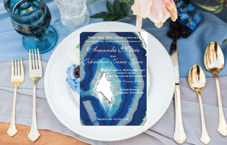 Navy Blue Wedding Invitation Suite   Elegant Agate