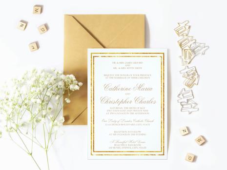 Elegant Gold Foil Wedding Invitation Suite