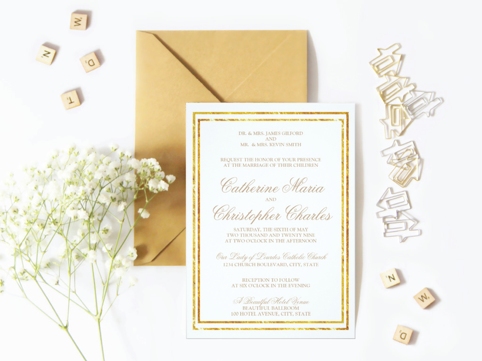 Elegant Gold Foil Wedding Invitation Suite