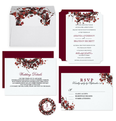 Burgundy Red Floral Wreath Wedding Suite