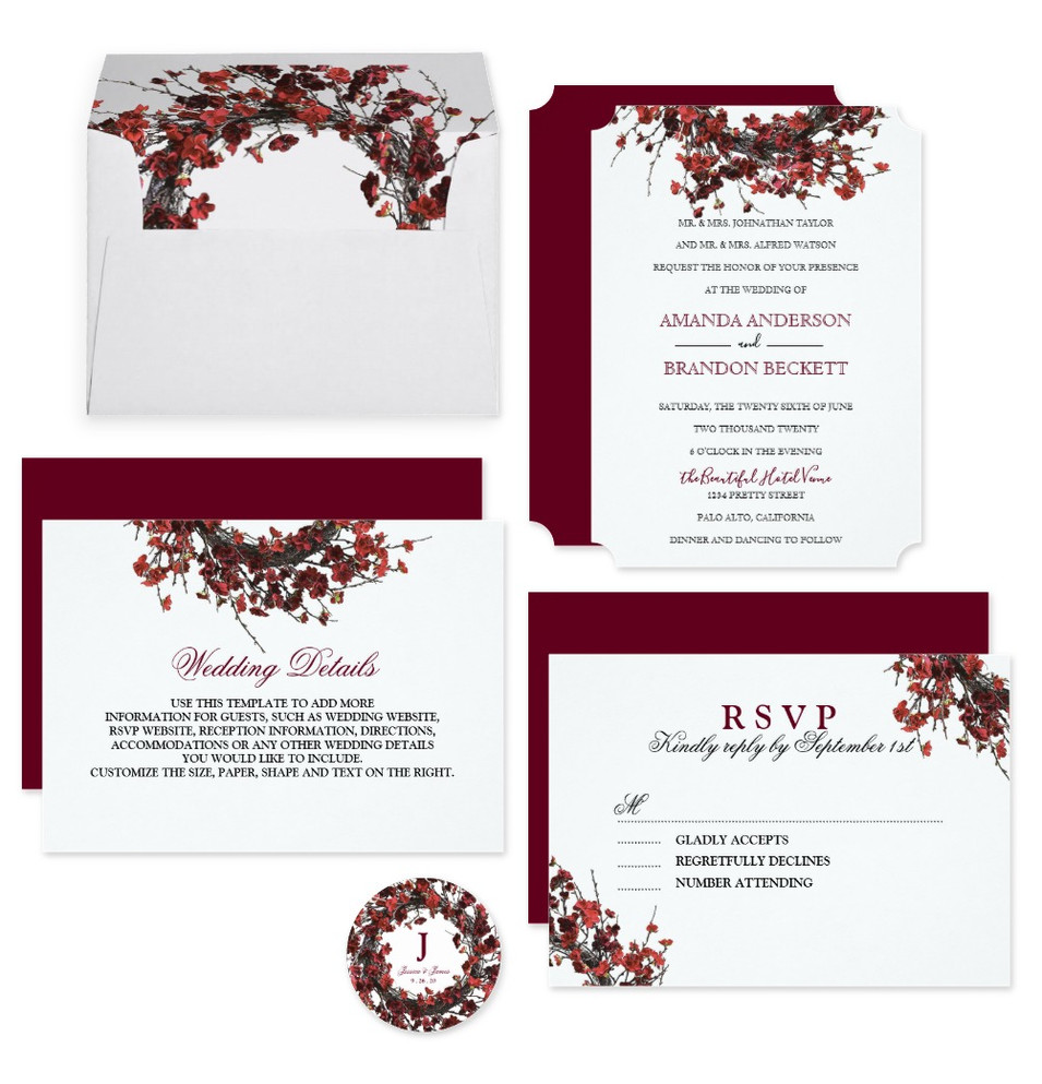 Burgundy Red Floral Wreath Wedding Suite