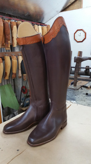 Dark brown New Zealand yearling leather with collars