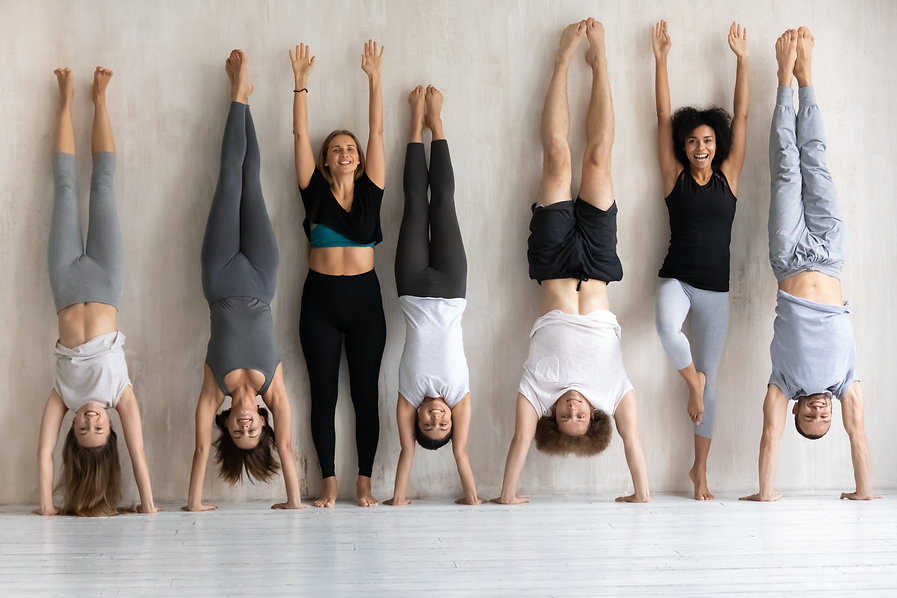 Happy diverse people doing handstand Adh