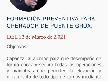 FORMACIÓN PREVENTIVA PARA OPERADOR DE PUENTE GRÚA.