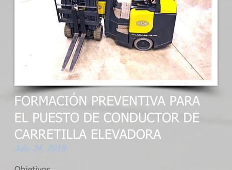 FORMACIÓN PREVENTIVA PARA EL PUESTO DE CONDUCTOR DE CARRETILLA ELEVADORA