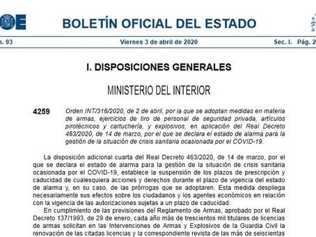 Orden INT/316/2020, de 2 de abril, por la que se adoptan medidas en materia de armas, ejercicios de