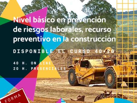 Curso de técnico en PRL básico, del sector de la construcción. 40 horas on line+20 horas presencial.