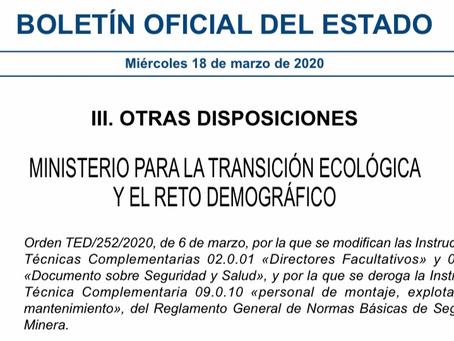 Orden TED/252/2020, de 6 de marzo, por la que se modifican las Instrucciones Técnicas Complementaria