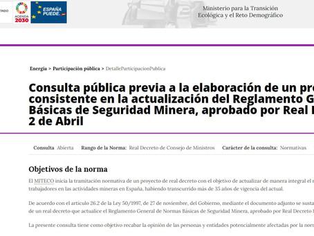 Consulta pública del Reglamento General de Normas Básicas de Seguridad Minera