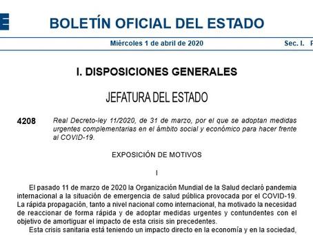 Real Decreto-ley 11/2020, de 31 de marzo, por el que se adoptan medidas urgentes complementarias en