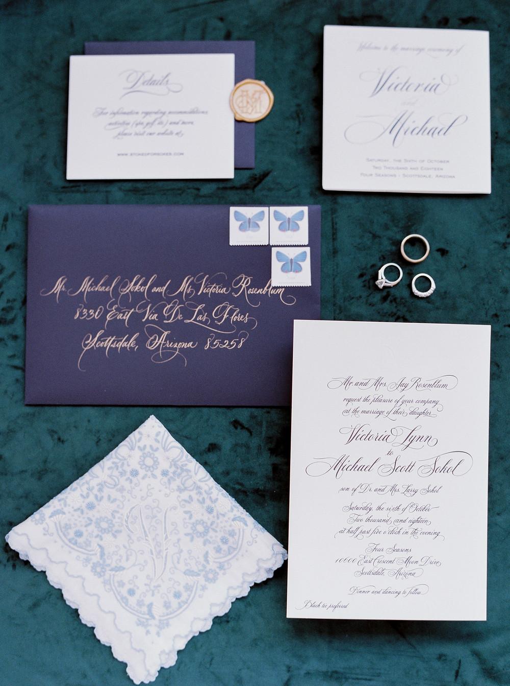 Scottsdale Four Seasons desert wedding. Details.  Invitation.