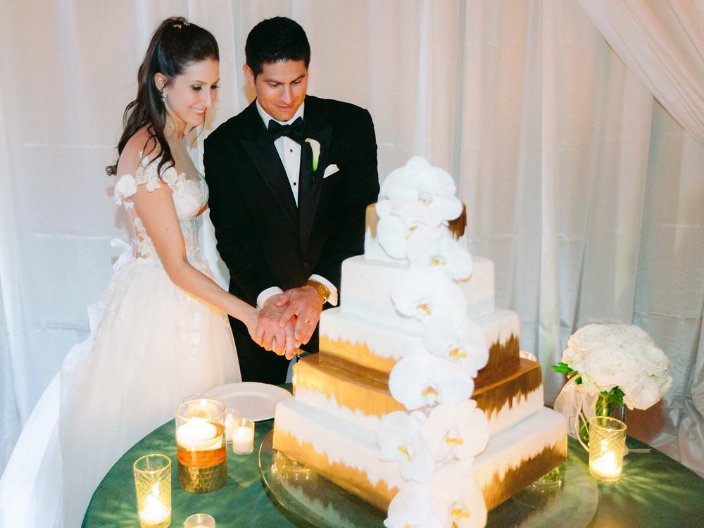 bride & groom cut the cake