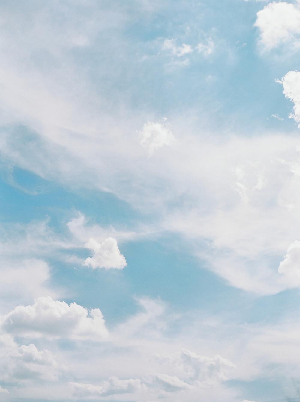 Scottsdale Four Seasons desert wedding. Blue sky.  White clouds