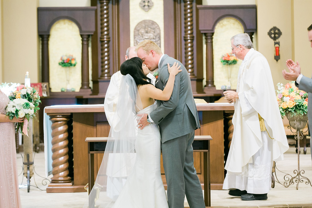 Ritz Carlton Dove Mountain Wedding, Church Ceremony, First Kiss