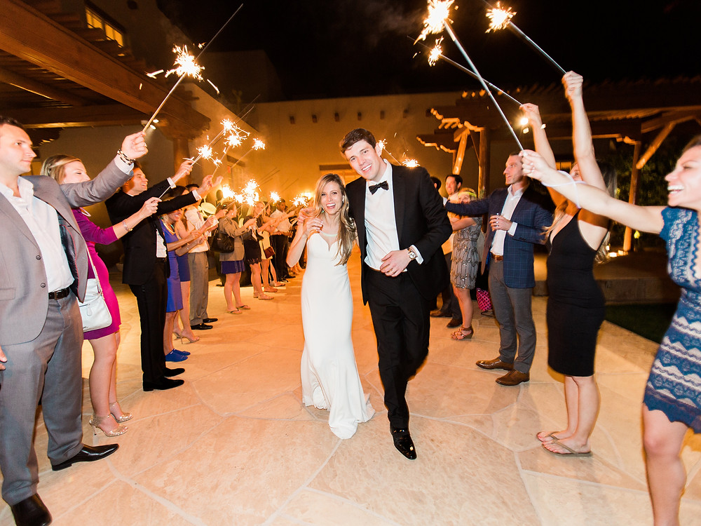 Four Seasons in Scottsdale Arizona Bride and Groom Sparkler Exit