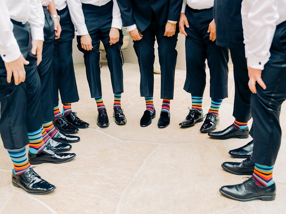 Groom and groomsmen rainbow socks