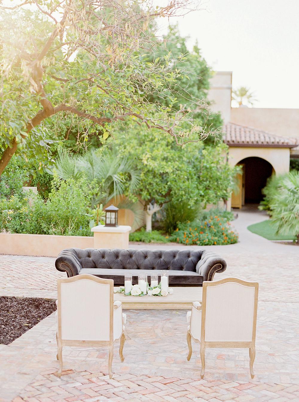 Royal Palms Wedding, Reception Details, Lounge Furniture