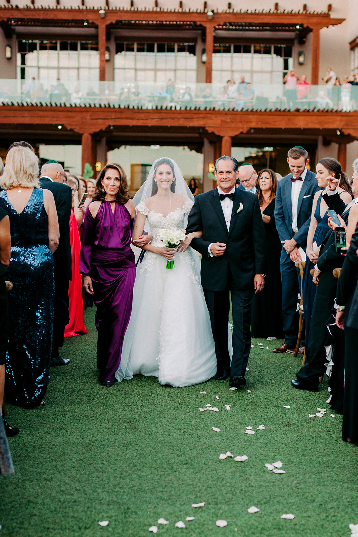 Bride walking down the asile