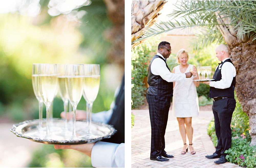 Royal Palms Wedding, Ceremony Details, Champagne