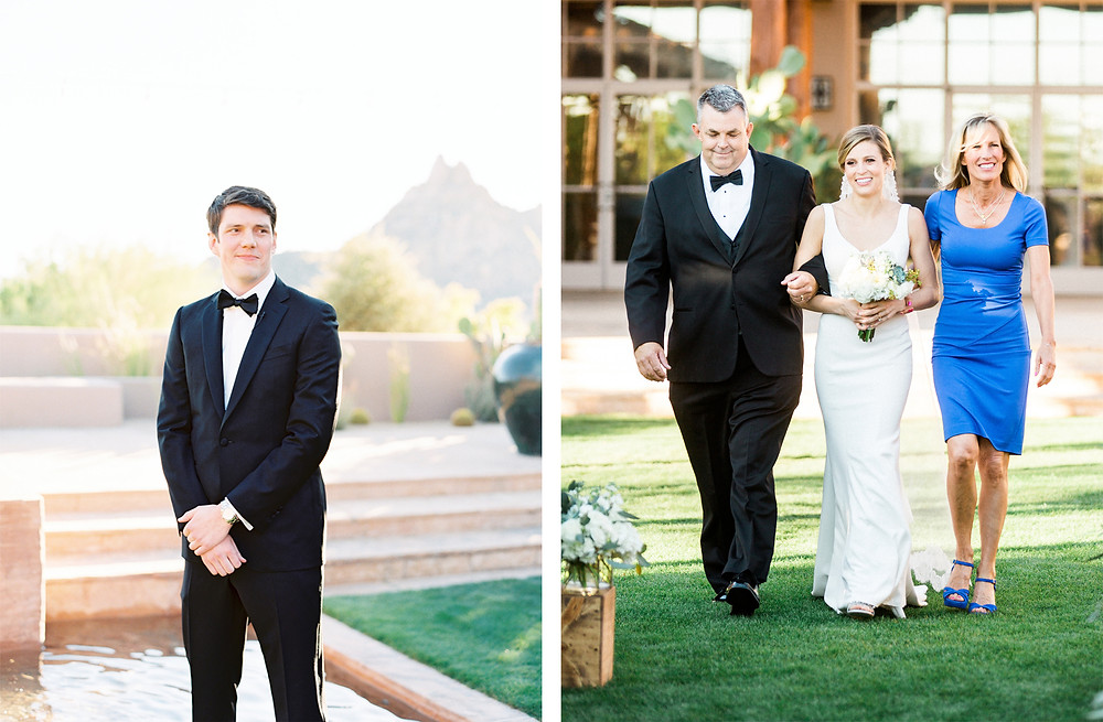Four Seasons in Scottsdale Arizona Ceremony, First Look with Bride and Groom