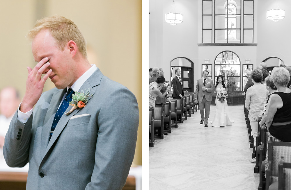 Ritz Carlton Dove Mountain Wedding, Church Ceremony, Groom Reaction