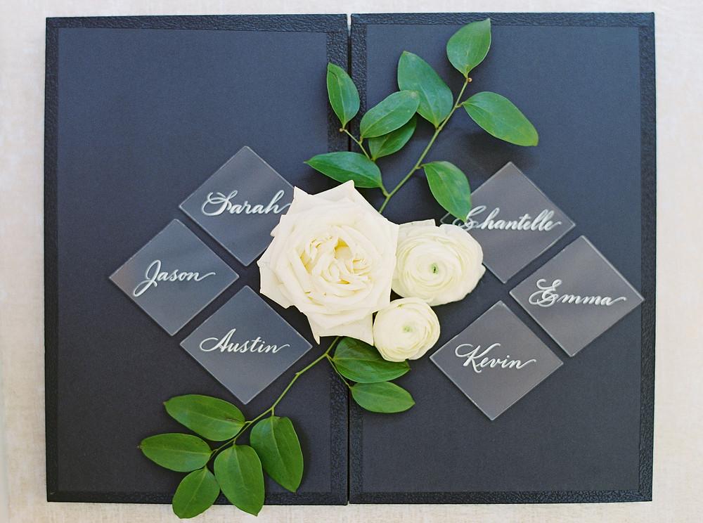 Royal Palms Wedding, Reception Details, Name Cards