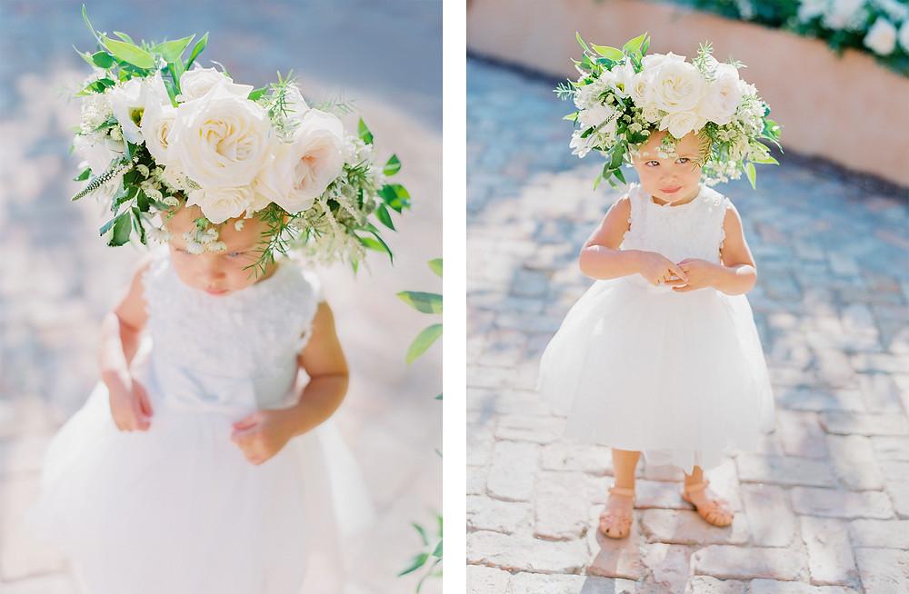 Royal Palms Wedding, Details, Flower Crown, Flower Girl
