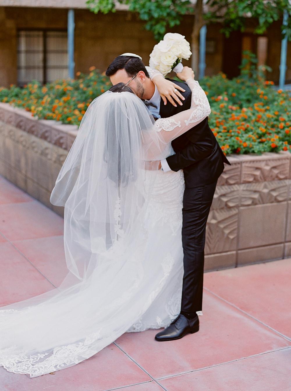 Arizona Biltmore Classic White Wedding, Bride and Groom