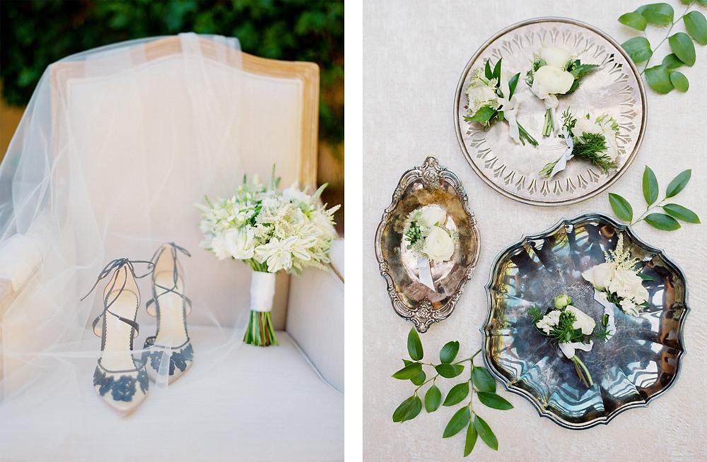 Royal Palms Wedding, Details, Wedding Shoes, Bouquet, Boutonnieres