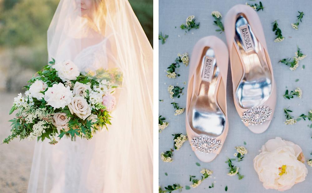 Four Seasons at Troon North in Scottsdale Arizona, Bridal Portrait , Badgley Mishka Bridal Shoes