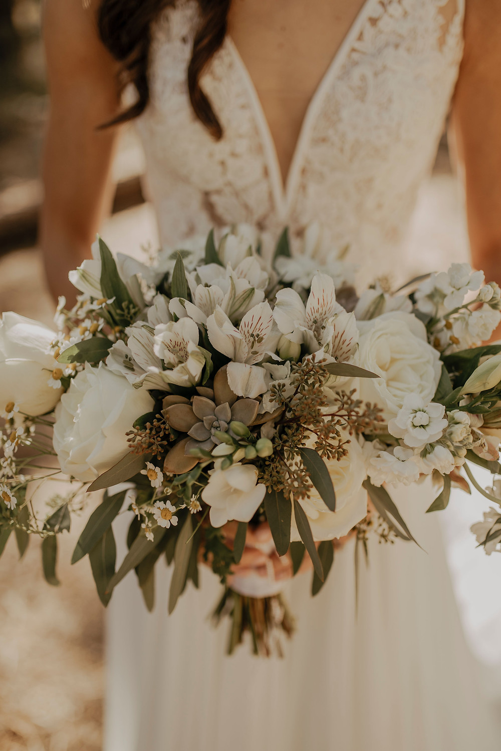 White, Foliage, and Wildflower Bouquet