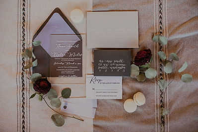 Wedding Invitation Suite with Acrylic and Paper floral and macarroon accent