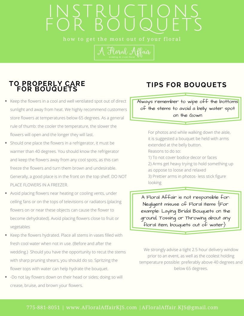 Instructions for Bouquets