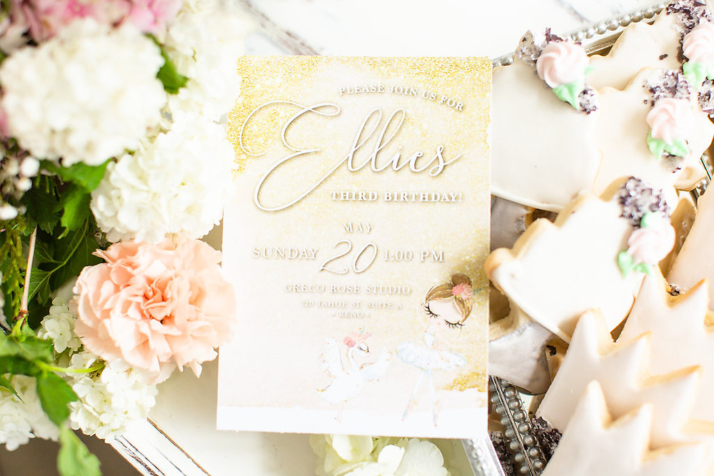 A Floral Affair Swan Princess Styled Shoot with Grace and Style Events Invititation by Pretty Little Paper Co.