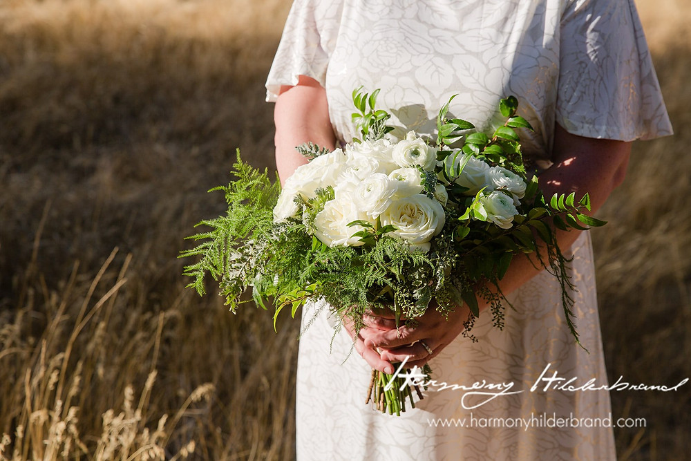 A Floral Affair- Bouquet in a field surrounded by mountains