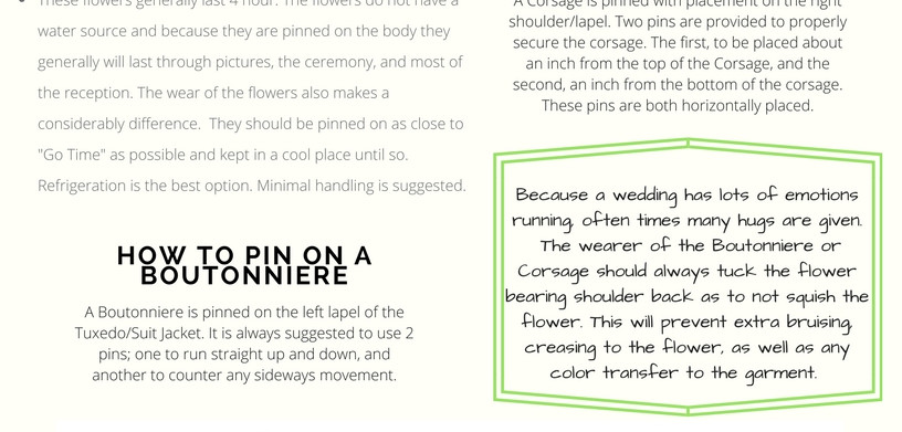 Instructions for Personal Flowers- How to get the most out of your Flowers