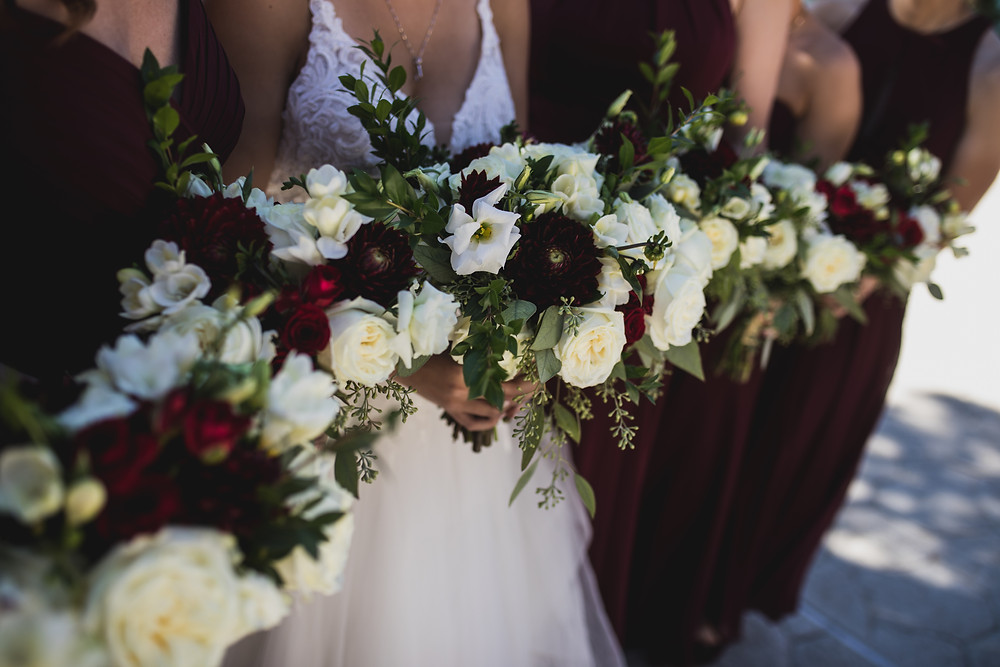 A Floral Affair- Wine and Ivory bouquet with foliage accent