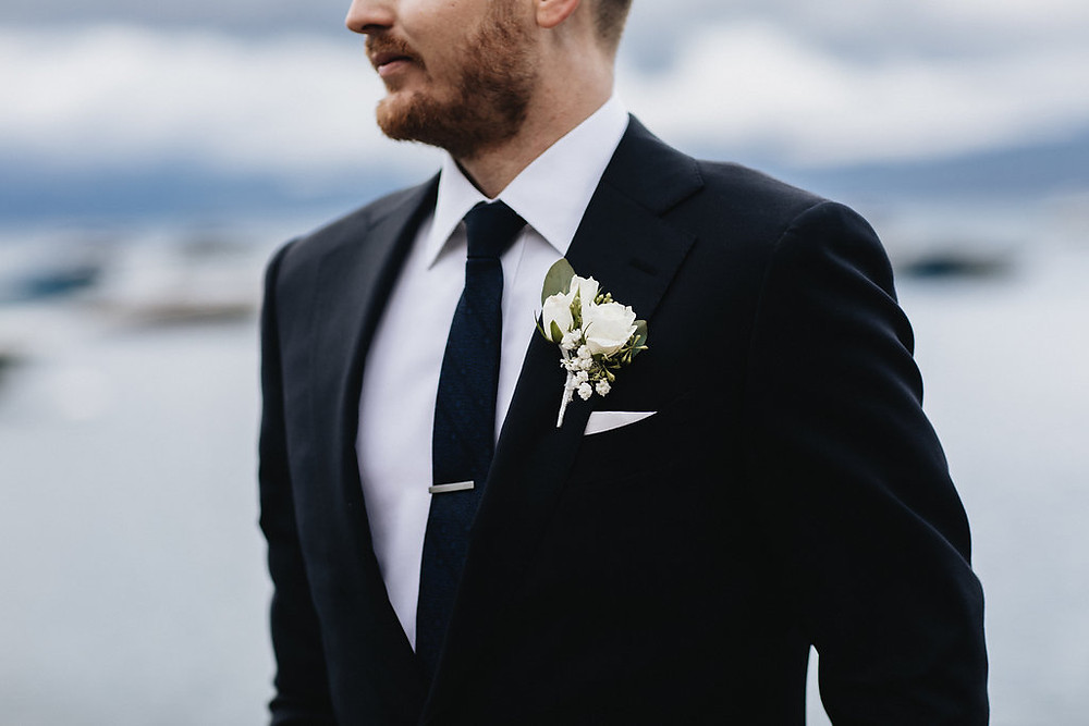 A Floral Affair-Moody Blue Lake Tahoe Real Wedding Boutonniere