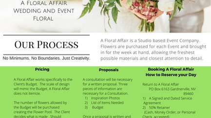 A Floral Affair's Process and Pricing Guildelines