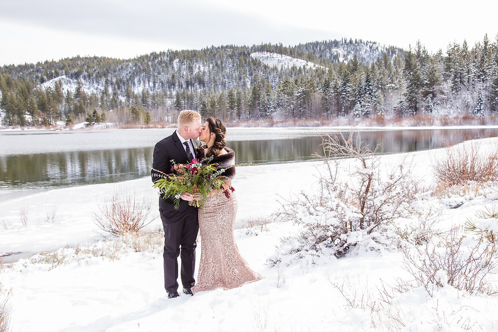 Tahoe Winter Styled Shoot with Dark Moody Floral