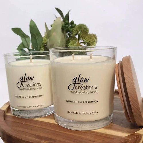 White Lily and Persimmon Candles (Large and Small Size)