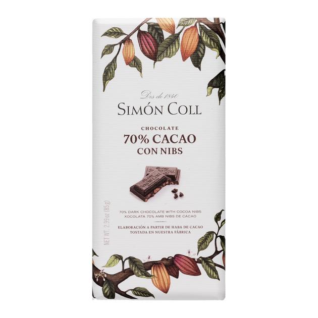 chocolate 70 % cacao con nibs Simon Coll