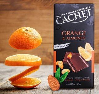 Chocolate Negro Naranja y Almendras Cachet