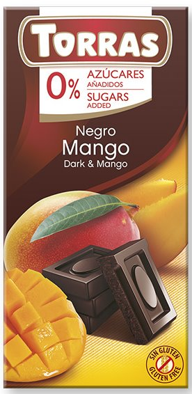 Chocolate Torras Sin Azucar 75 g. Negro con Mango_edited