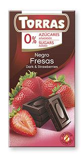 Chocolate Negro con Fresa Sin Azúcar Torras