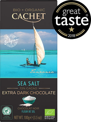 TABLETA CHOCOLATE ORGANICO EXTRA NEGRO 72 % CACAO Y FLOR DE SAL.
