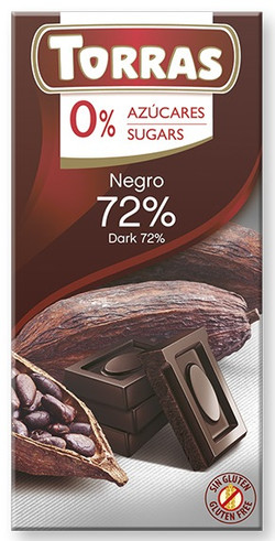 Chocolate Torras Sin Azucar 75 g. 72 % cacao