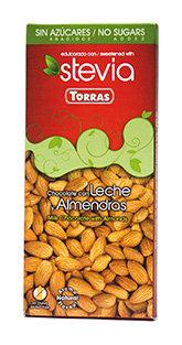 Chocolate leche almendras Stevia Torras