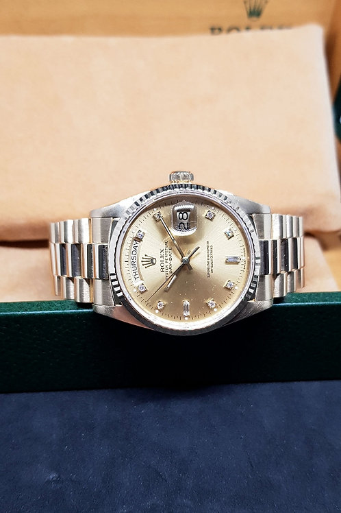 Rolex 18K Solid Yellow Gold Champagne Diamonds Day-Date REF: 18038